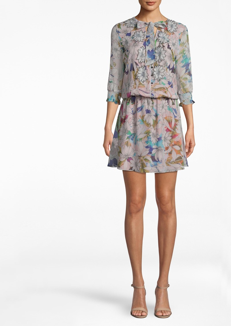 Nicole Miller Drifting Flowers 3/4 Sleeve Dress
