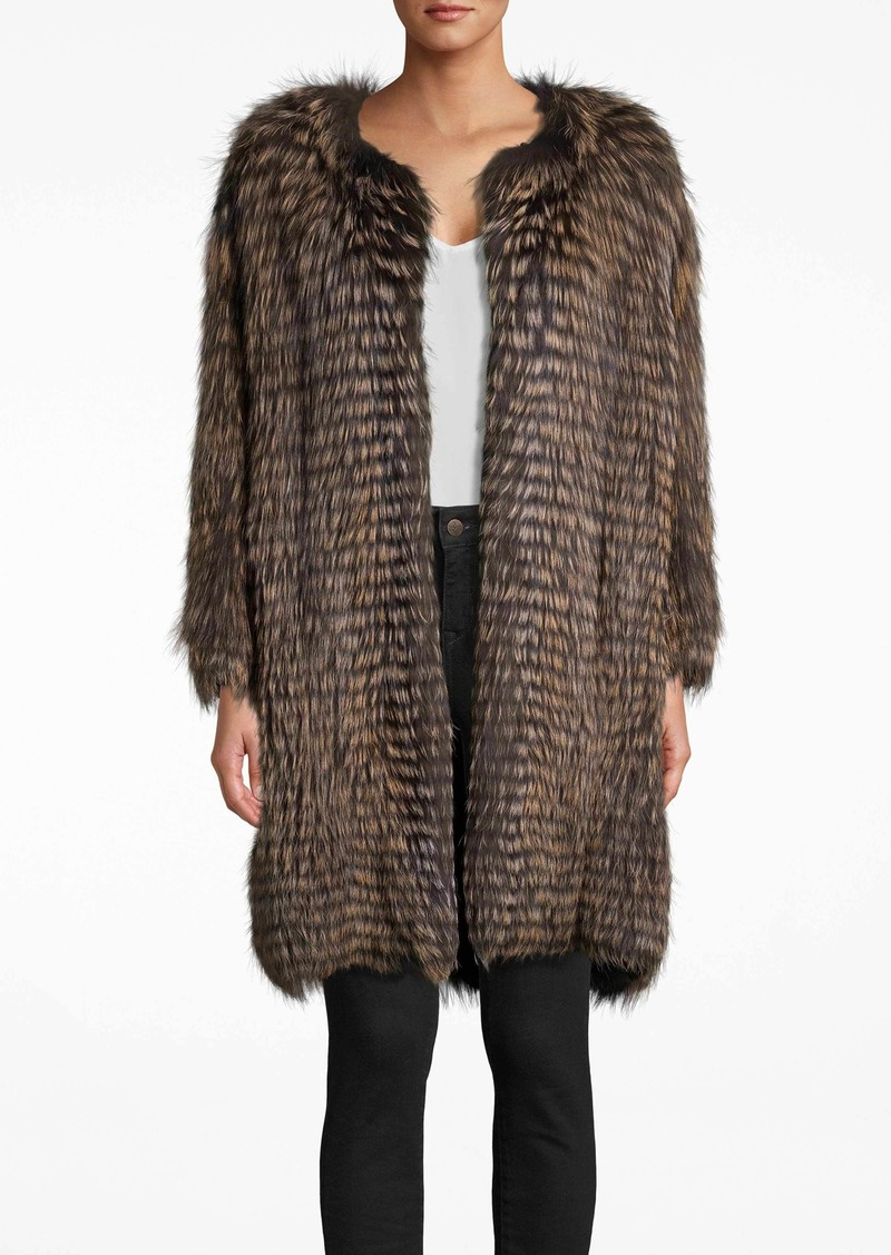 Nicole Miller Dyed Nude Silver Fox Stripes Coat