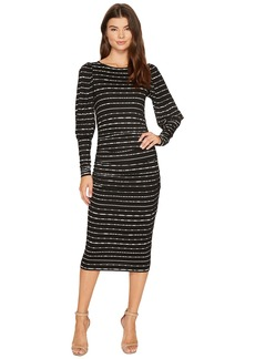 Nicole Miller Elizabetta Dotted Stripes Long Sleeve Jersey Dress