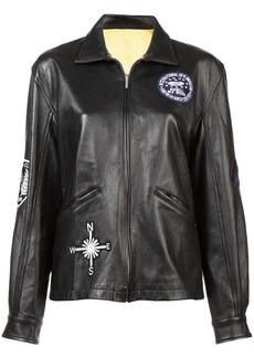 Nicole Miller embellished boyfriend leather jacket