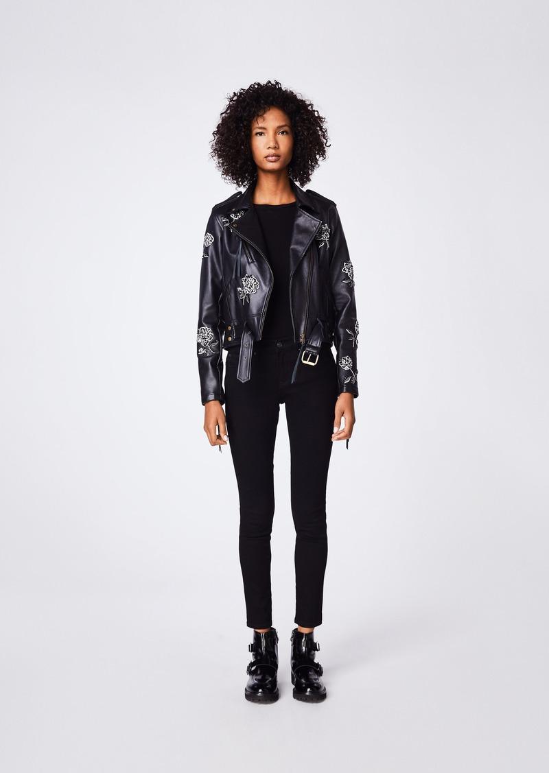 Nicole Miller Embellished Rose Moto Jacket