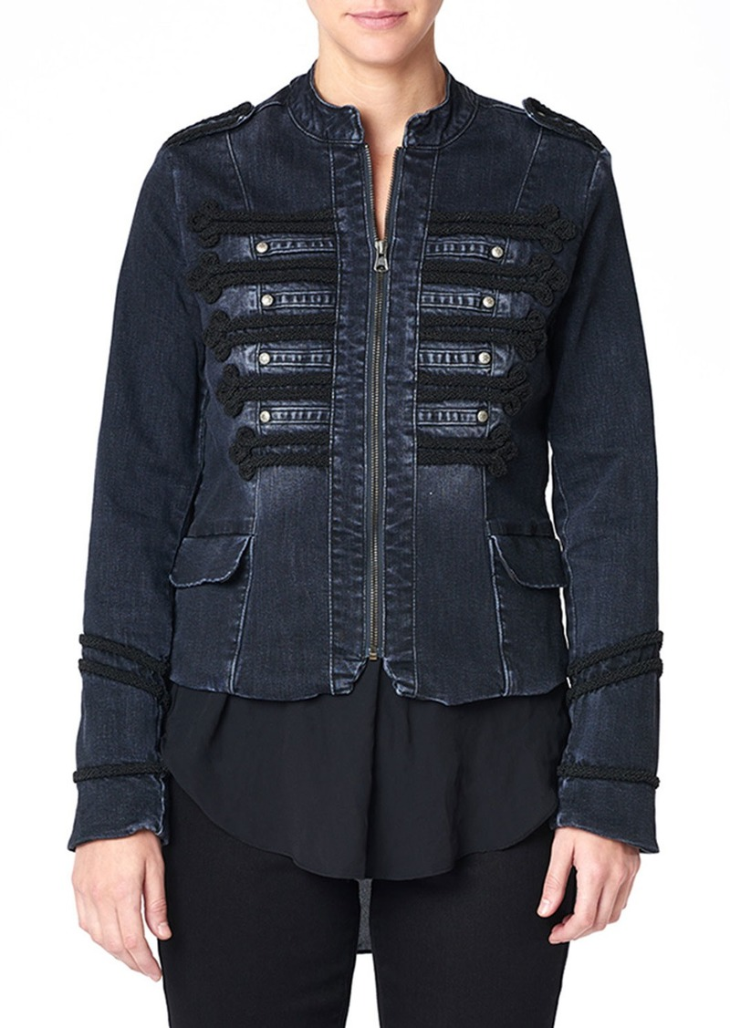 Nicole Miller Embroidered Fitted Denim Band Jacket