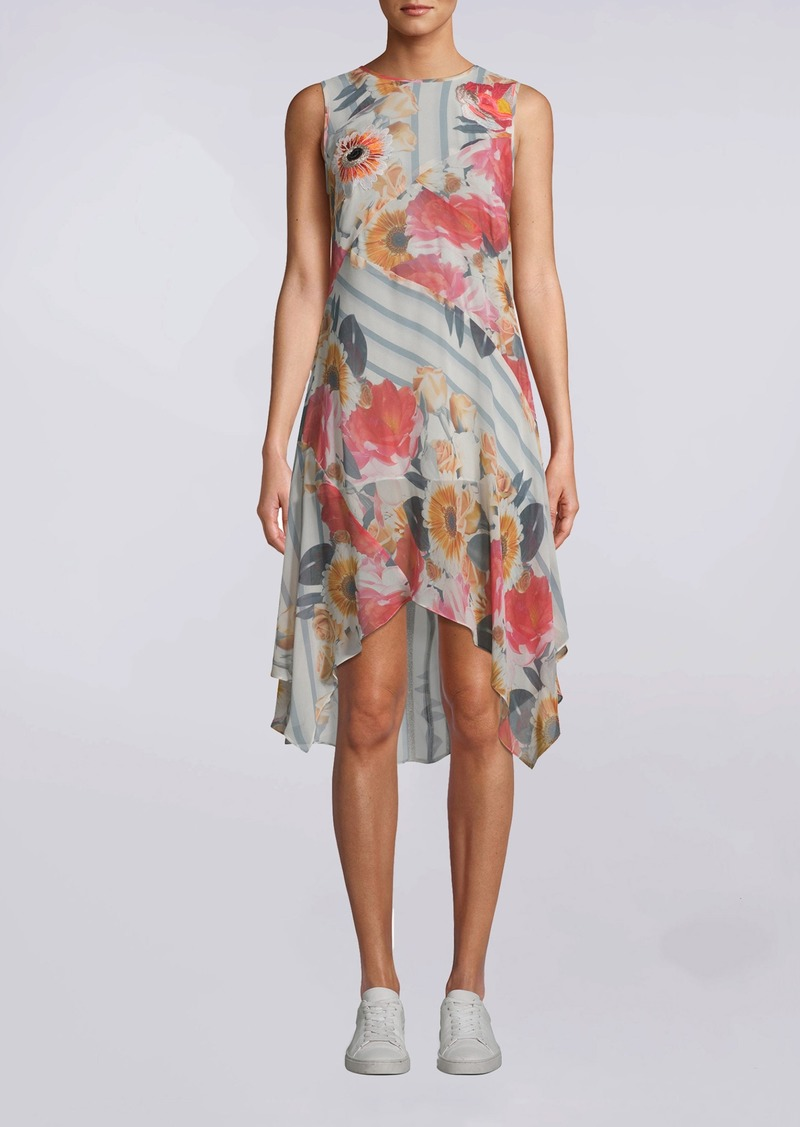 Nicole Miller Embroidered Floral Stripe Handkerchief Dress