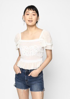 Nicole Miller Embroidered Silk Blouse
