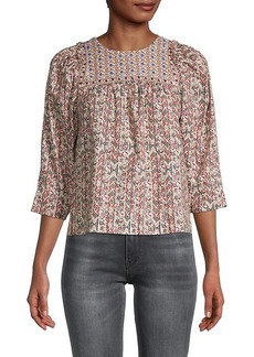 Nicole Miller Embroidered-Yoke Peasant Top