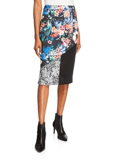 Nicole Miller Floral Colorblock Pencil Skirt