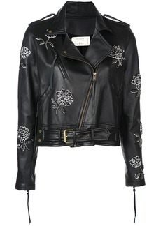 Nicole Miller floral embroidered biker jacket