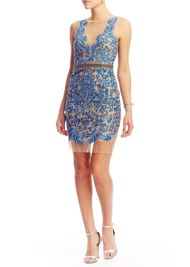 Nicole Miller Floral Embroidered Illusion Short Dress