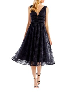 Nicole Miller Floral Lace Fit-&-Flare Dress