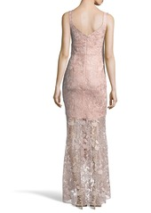 Nicole Miller Floral Lace High-Low Gown