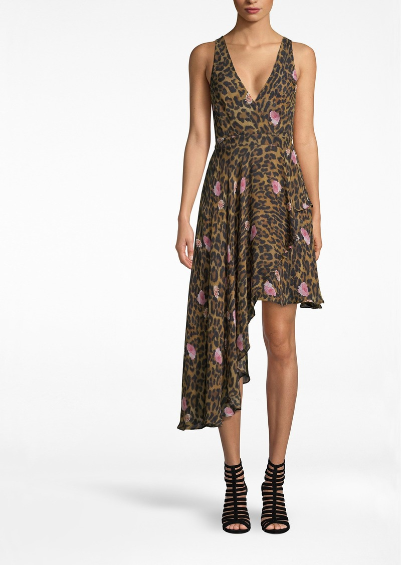 Nicole Miller Floral Leopard Asymmetrical Dress