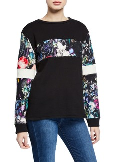 Nicole Miller Floral Paneled French Terry Sweatshirt