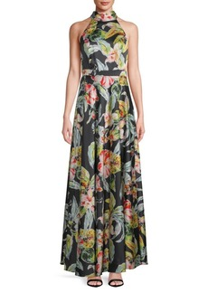 Nicole Miller Floral-Print Floor-Length Gown