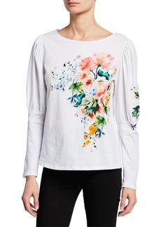 Nicole Miller Floral-Print Long-Sleeve T-Shirt