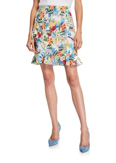 Nicole Miller Floral-Print Ruffle Skirt