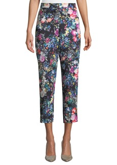 Nicole Miller Floral-Print Straight-Leg Cropped Pants