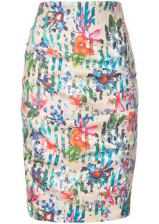 Nicole Miller floral printed fitted pencil skirt