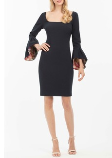 Nicole Miller Floral-Revers Bell-Sleeve Sheath Cocktail Dress