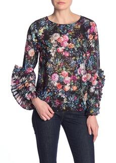 Nicole Miller Floral Ruffle Sleeve Top