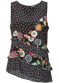 Nicole Miller floral ruffle tank top