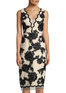 Floral-Soutache Sheath Cocktail Dress