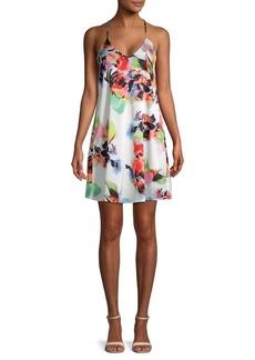Nicole Miller Floral Trapeze Slip Dress