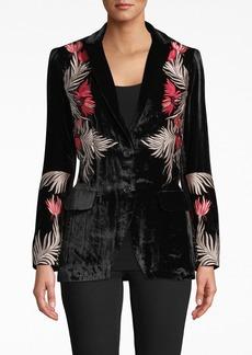Nicole Miller Flower Fire Embroidered Velvet Blazer