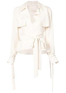 Nicole Miller foldover belted shirt