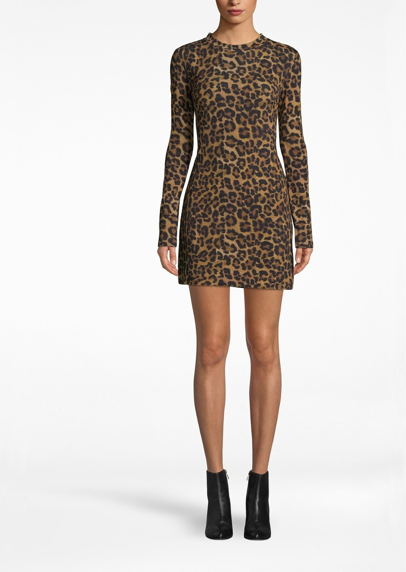 Nicole Miller Furry Leopard Jersey Long Sleeve Shirt Dress