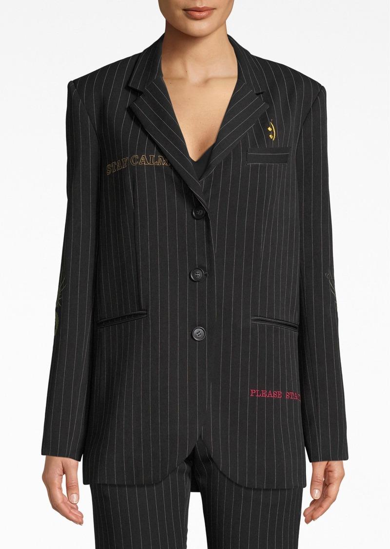 Nicole Miller Gangster Stripe Boyfriend Jacket