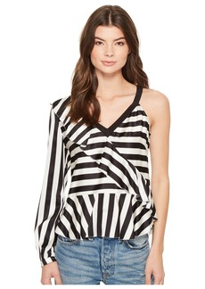Nicole Miller Getaway Stripe Simone One-Shoulder Top
