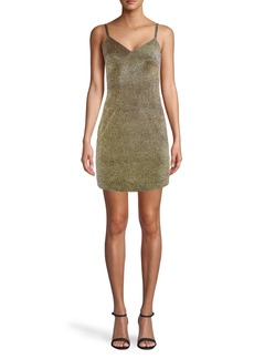 Nicole Miller Gold Sparkle Spaghetti Strap Mini Dress