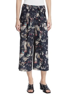 Nicole Miller Graphic Print Cropped Wide-Leg Pants
