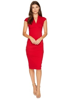 Nicole Miller Hadley Ponte Cap Sleeve V-Neck Dress