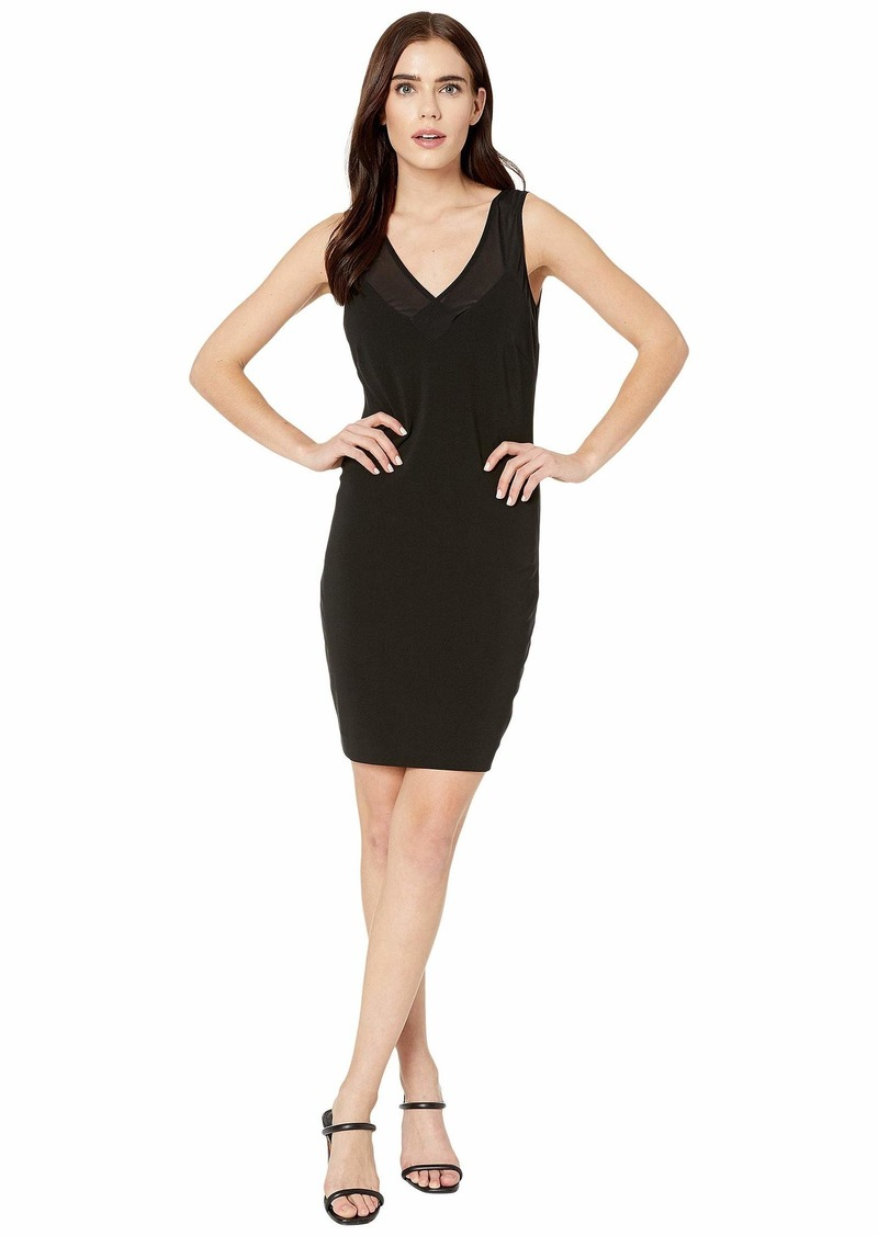 Nicole Miller Heavy Jersey/Mesh V-Neck Sleeveless Dress
