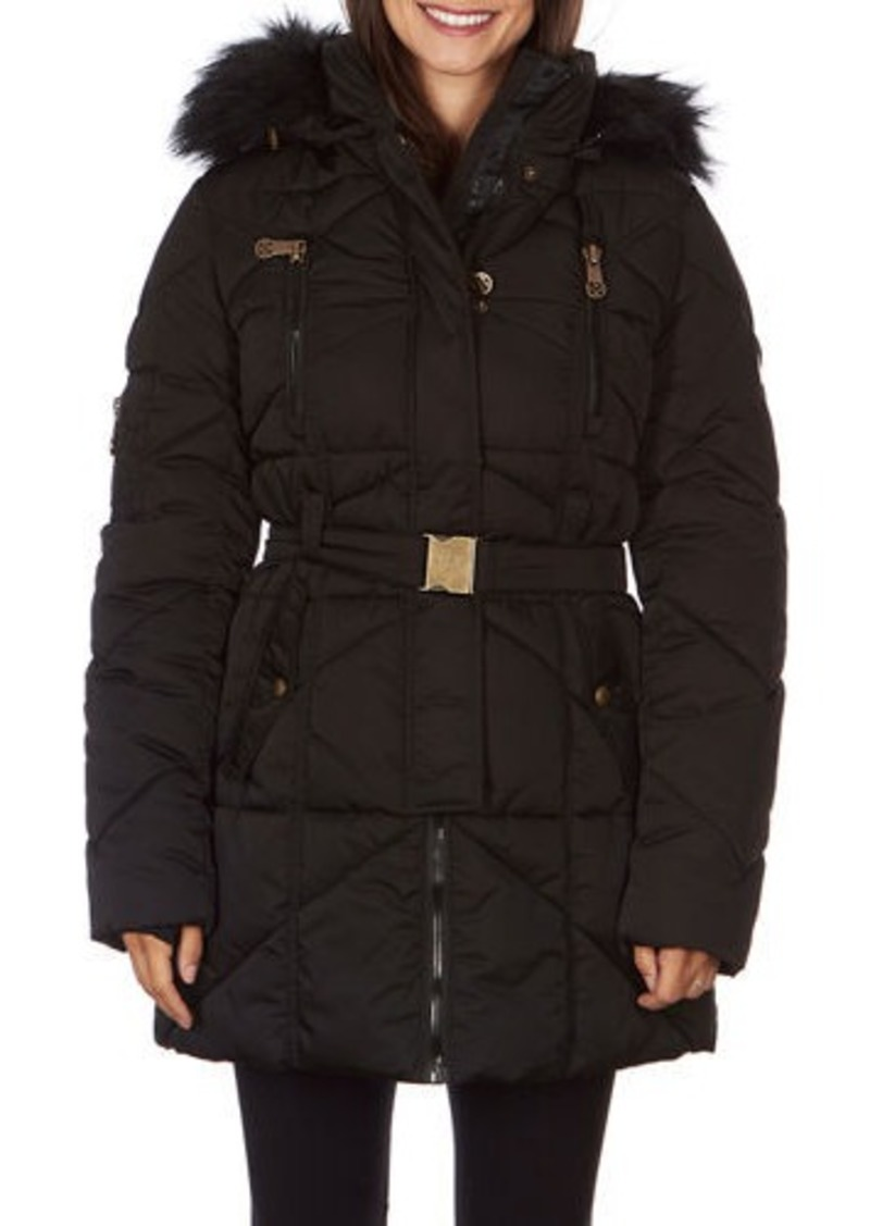 Nicole Miller Heavyweight Belted Coat with Faux-Fur Hood