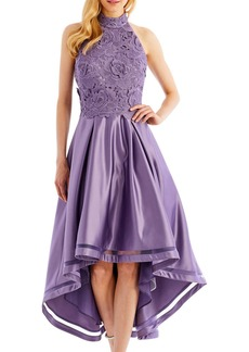 Nicole Miller High-Low Cocktail Dress with 3D-Lace Bodice