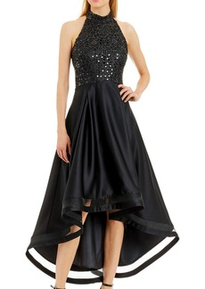 Nicole Miller High-Low Cocktail Dress with Sequin Bodice