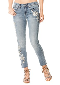 Nicole Miller High-Rise Embroidered Raw-Ankle Jeans