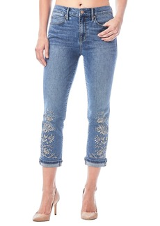 Nicole Miller High-Rise Embroidered Straight Ankle Jeans