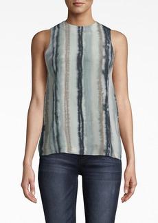 Nicole Miller Ink Stripe Silk Tank Top