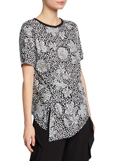 Nicole Miller Knit Mixed-Print Side Knot Asymmetric Top