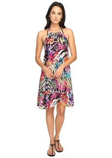 La Plage by Nicole Miller Tropical Palms Halter Dress Cover-Up