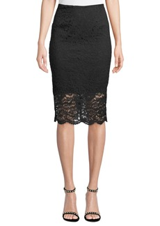 Nicole Miller Lace Illusion Pencil Skirt