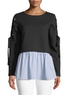 Nicole Miller Lace-Up Sweatshirt with Woven Hem