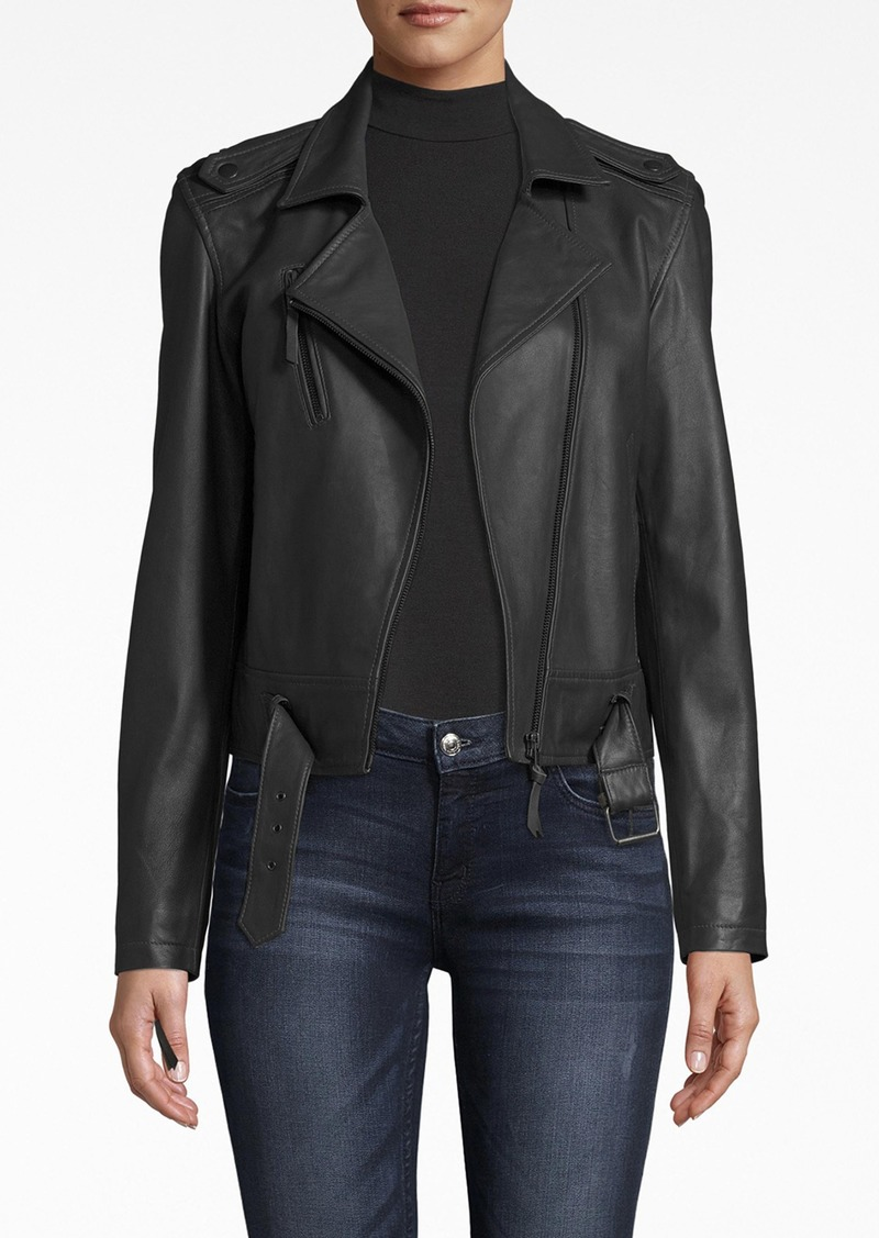 Nicole Miller Leather Moto Jacket