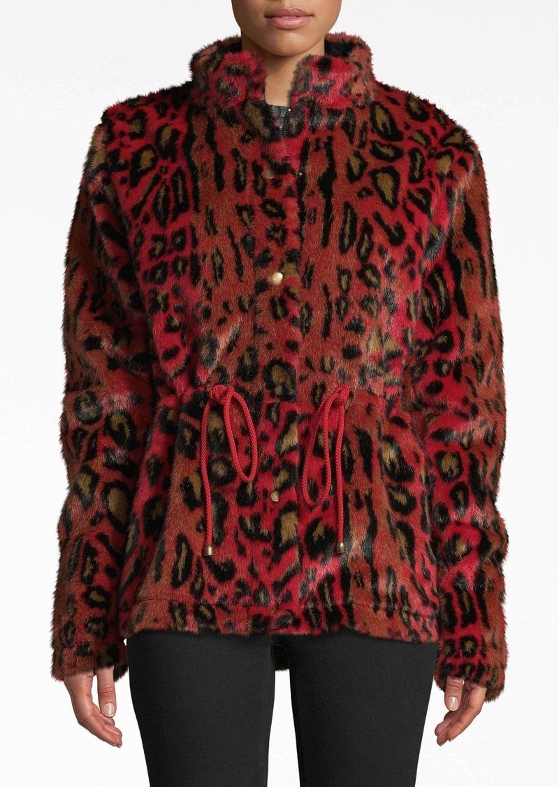 Nicole Miller Leopard Faux Fur Anorak Jacket