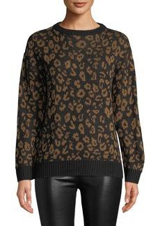 Nicole Miller Leopard-Jacquard Crewneck Sweater