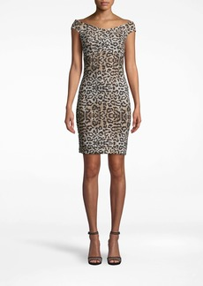 Nicole Miller Leopard Off The Shoulder Dress