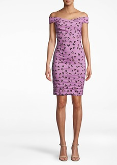Nicole Miller Lilac Leopard Off The Shoulder Dress